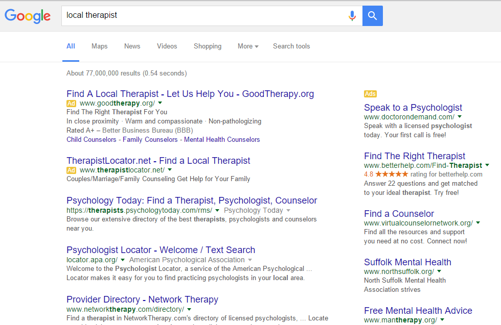 Adwords For Therapists - Marketing For Therapists